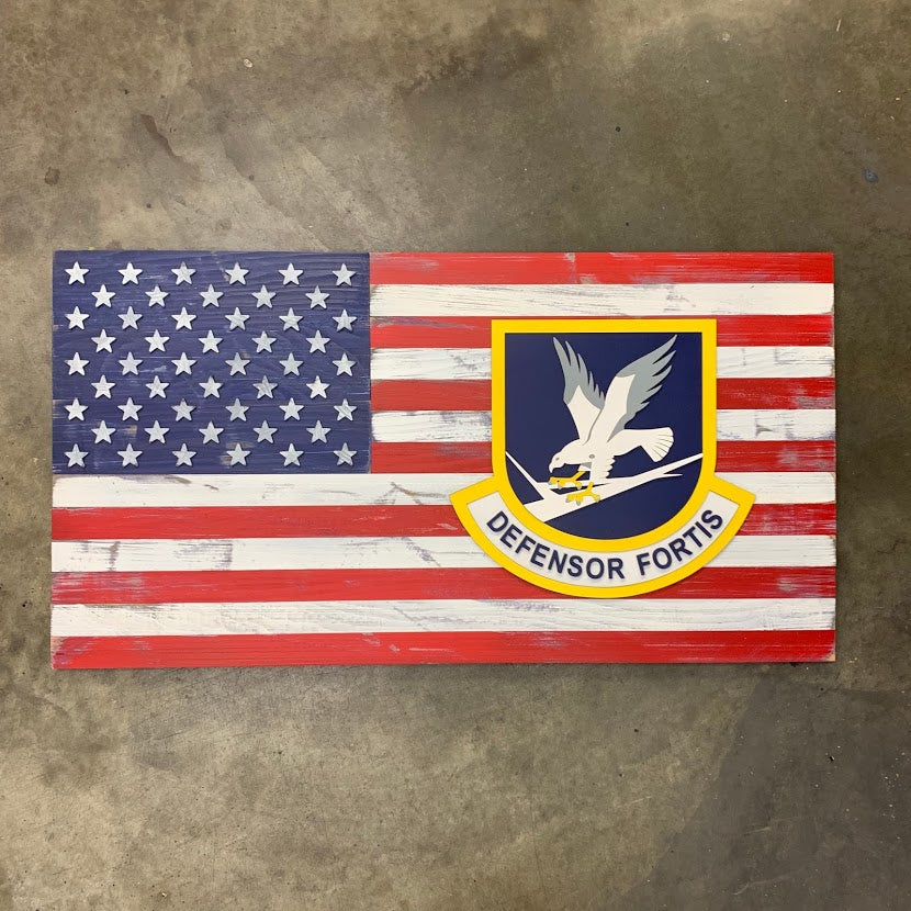 USA Wooden Flag with Custom Wood Badge Patch Logo