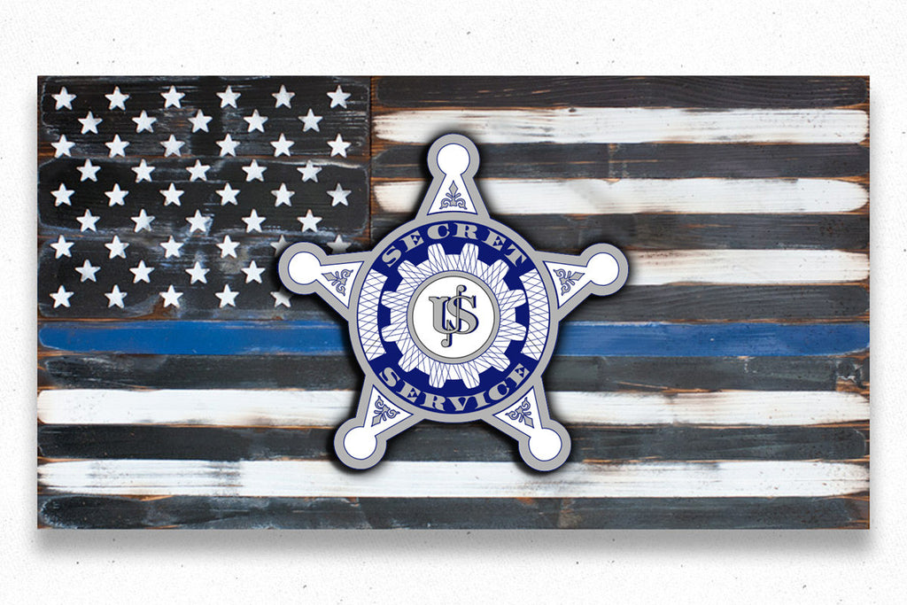 USA Secret Service Vintage Wood Flag