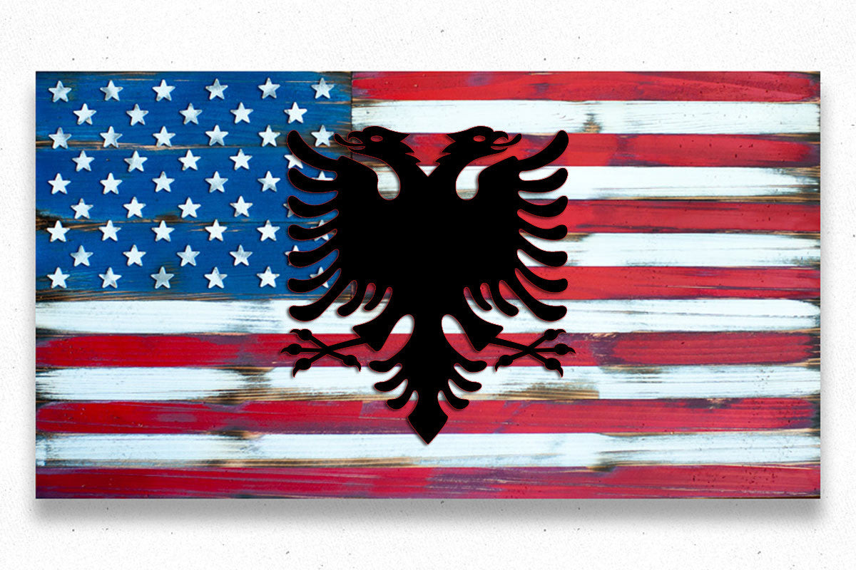 USA Vintage w/Albania Eagle Wood Flag