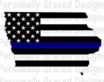 Thin Blue Line Iowa Wood Flag