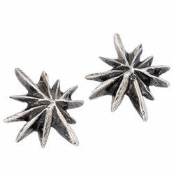 Oxidized Silver Triple Star Stud Earring