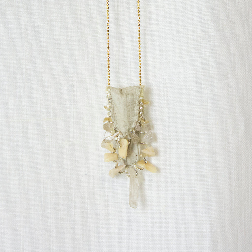 WHITE | CITRINE | BONE AND GOLD MEDICINE BAG