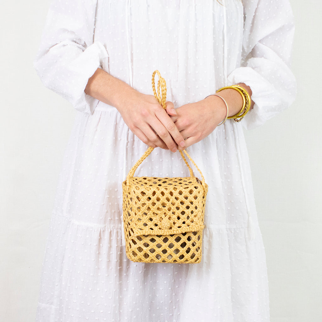 STRAW CUBIC MINI BAG | CINNAMON