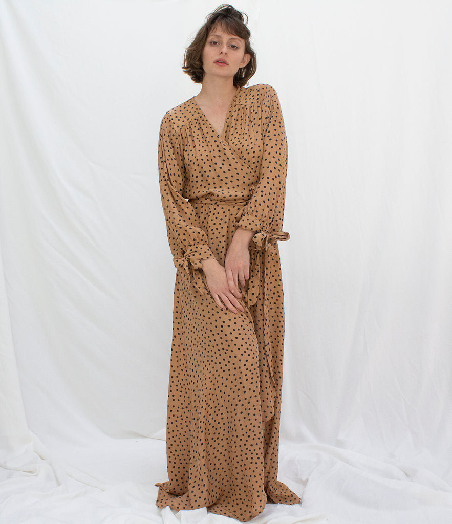 DANIKA LONG SLEEVE DRESS | POLKA DOT TAN