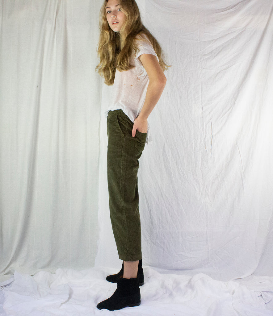 CORDUROY WIDE PANT | OLIVE