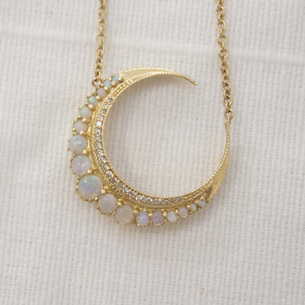 YG SMALL GRADUATED OPAL CRESCENT MOON NECKLACE WITH PAVE DIAMONDS