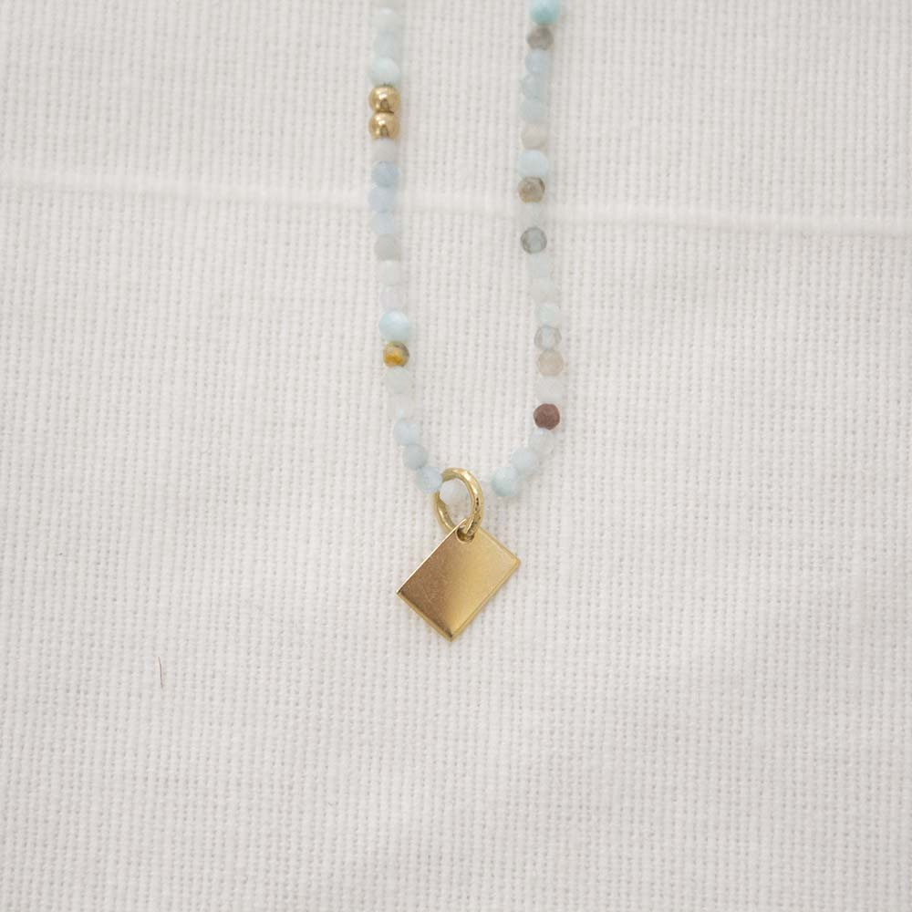 ALFA BEAD NOTE NECKLACE | LIGHT BLUE
