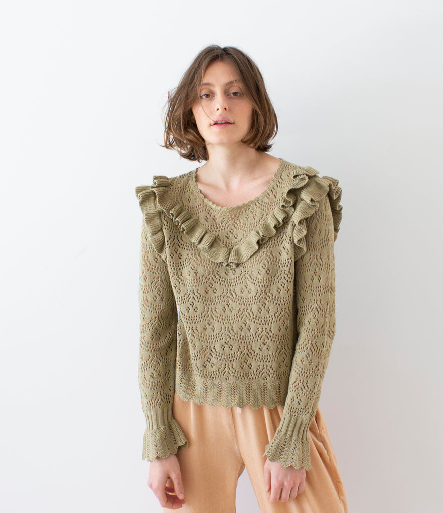 NATALIE RUFFLE SWEATER | SPANISH MOSS