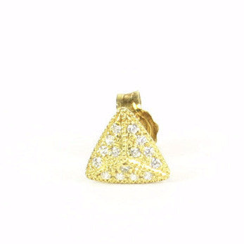 VERMEIL PAVE CZ TRIANGLE PYRAMID STUD | SINGLE