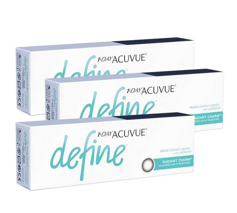 3 Box Set: 1 Day Acuvue DEFINE Radiant Charm - Grey by Johnson & Johnson