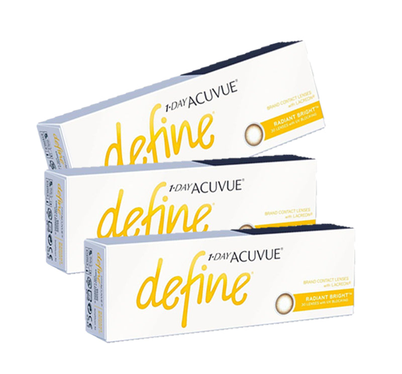 3 Box Set: 1 Day Acuvue DEFINE Radiant Bright - Brown Mocca by Johnson & Johnson