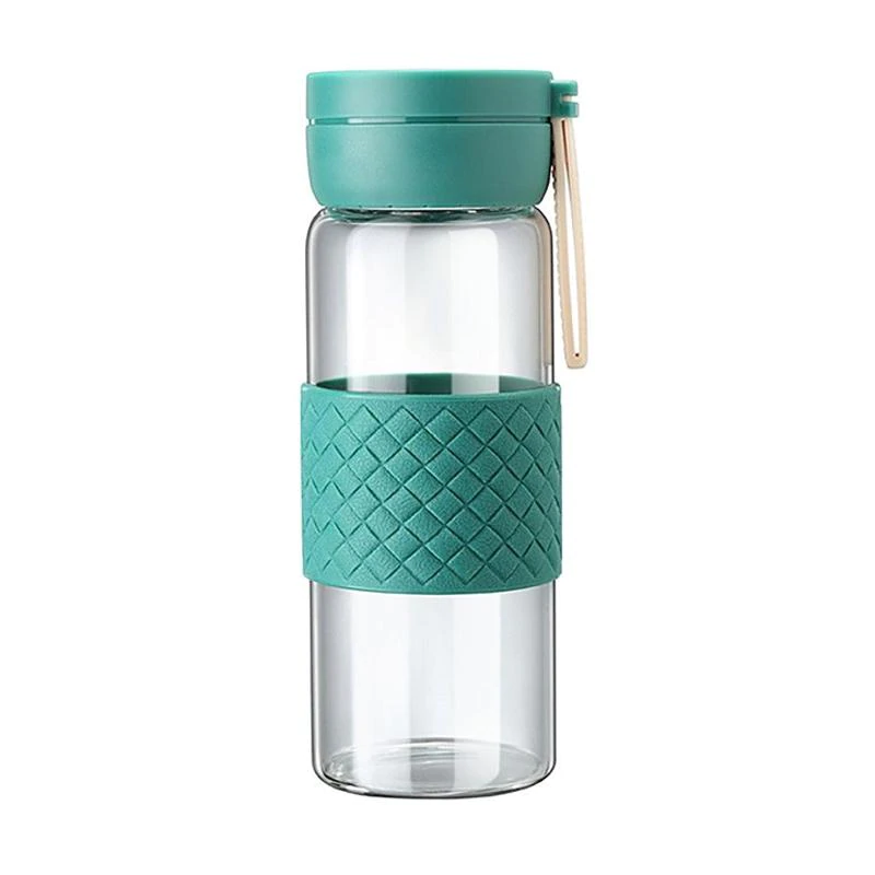 Super Sweet Water Bottle With Handle Anti-Scald Silicone Sleeve - Green - 420ml