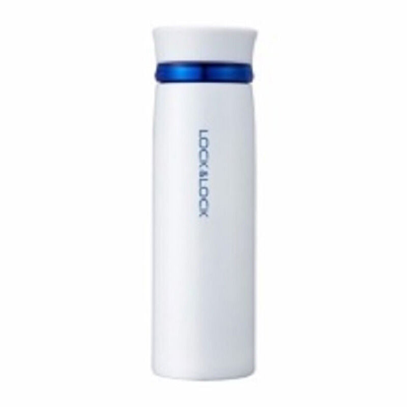 Feather Light Ring Vacuum Tumbler 450 ml White Blue - Lock & Lock