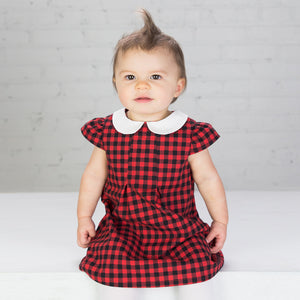 Buffalo Plaid Peter Pan Collar Dress - Small Potatoes - 2