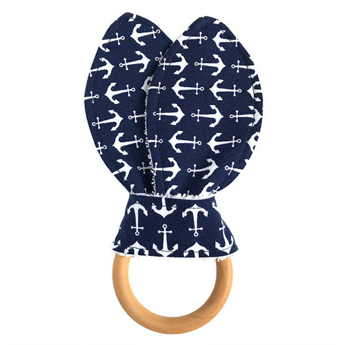Anchors Away Navy Wooden Baby Teether - Small Potatoes