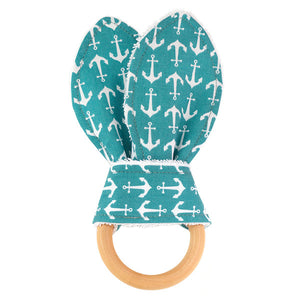 Anchors Away Teal Wooden Baby Teether - Small Potatoes