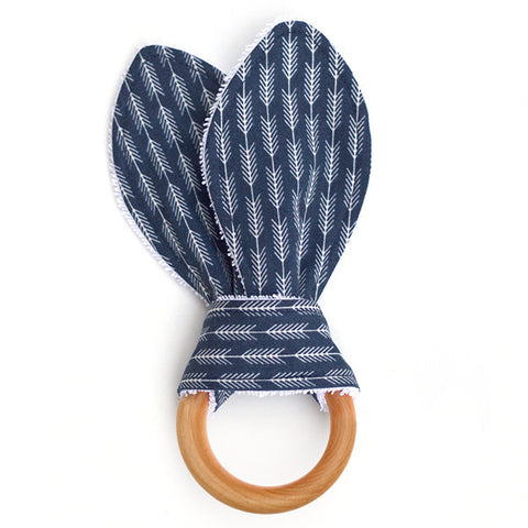 Arrowhead Navy Wooden Baby Teether
