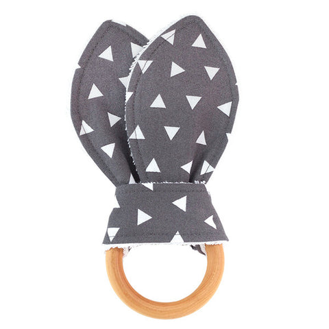 Grey Triangles Wooden Baby Teether