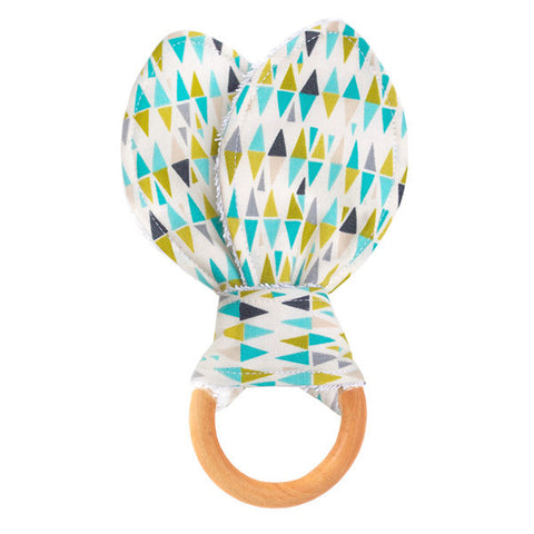Lime Harlequin Wooden Baby Teether