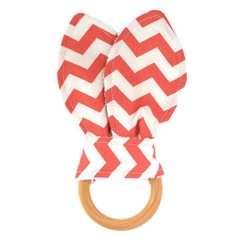 Red Chevron Wooden Baby Teether
