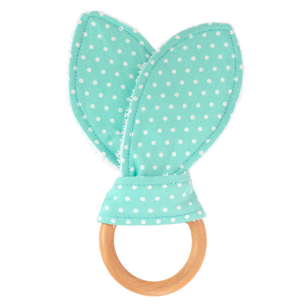 Seafoam Polka Dot Wooden Baby Teether - Small Potatoes