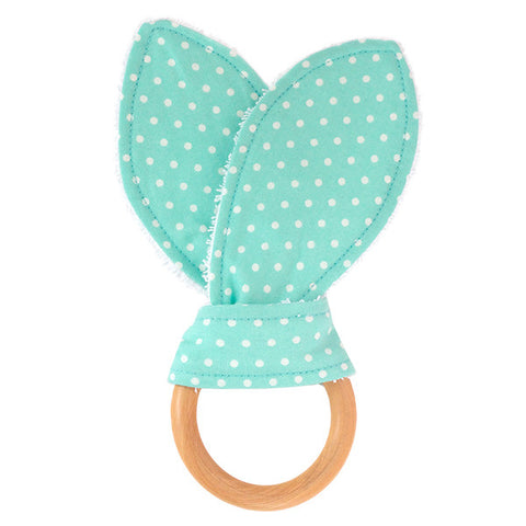Seafoam Polka Dot Wooden Baby Teether