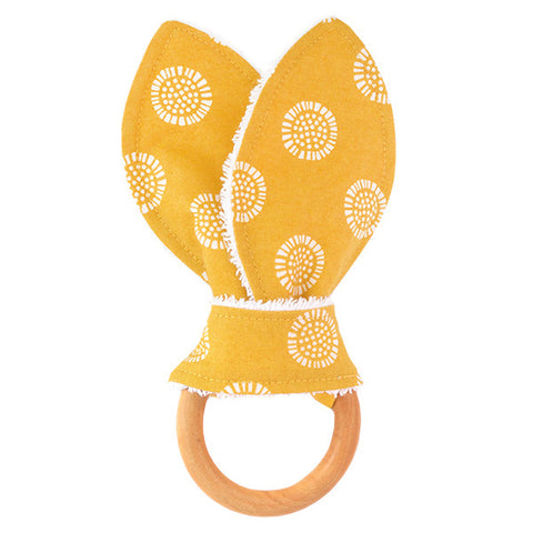 Yellow Sunflower Wooden Baby Teether