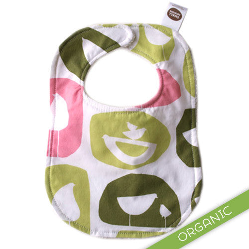 Mod Birds Pink Bib - ORGANIC - Small Potatoes