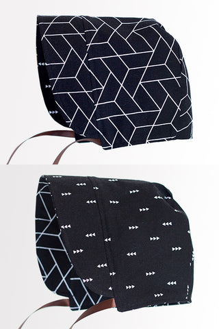 Black Geometric/Nordic Arrows Bonnet