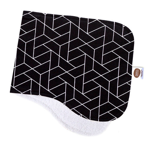 Black Geometric Burp Cloth