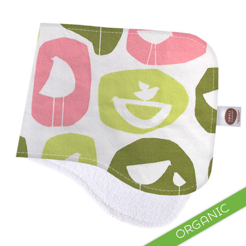 Mod Birds Pink Burp Cloth - ORGANIC