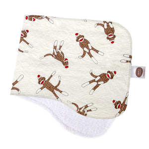 Monkey N Round Cream Burp Cloth - Small Potatoes - 1