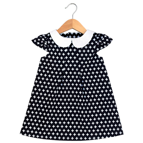 Black Swiss Cross Peter Pan Collar Dress