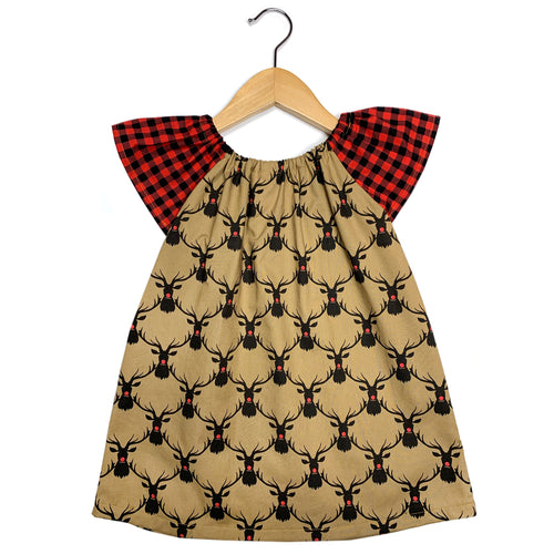 Reindeer Check Flutter Sleeve Dress