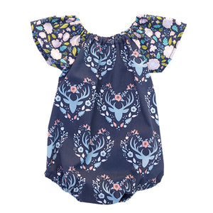 Antler Meadow Navy Bubble Romper
