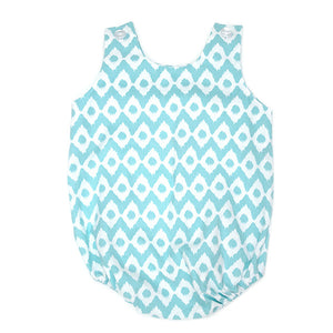 Blue Ikat Bubble Romper - Small Potatoes