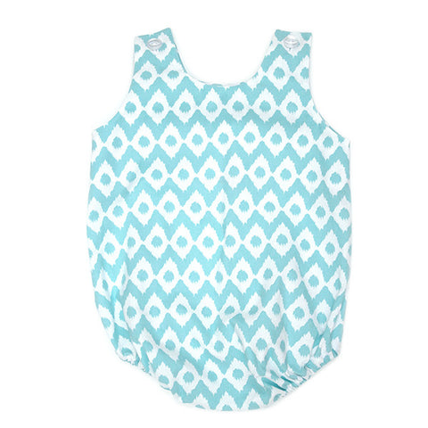 Blue Ikat Bubble Romper