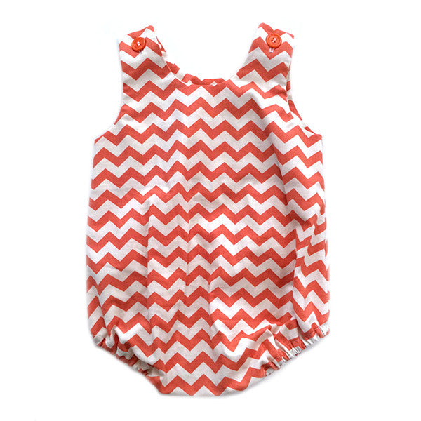 Red Chevron Bubble Romper - Small Potatoes
