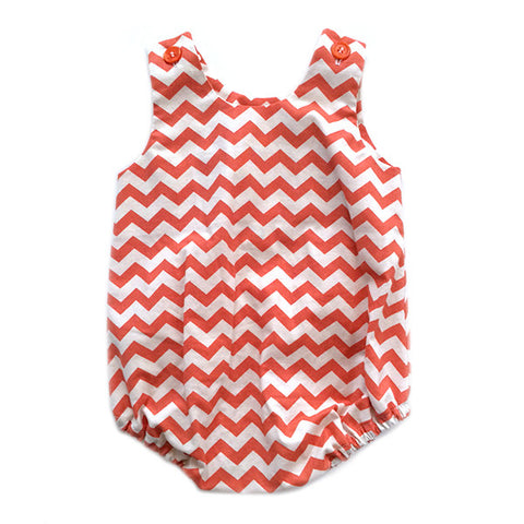 Red Chevron Bubble Romper