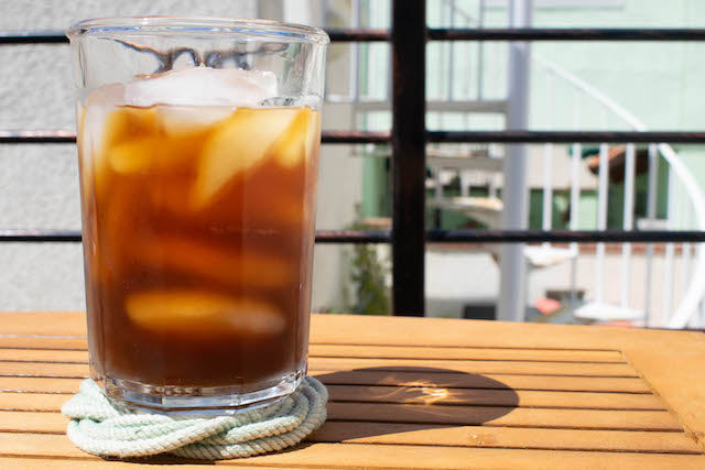 Intrepid Traveler Coffee Company cold brew outside table