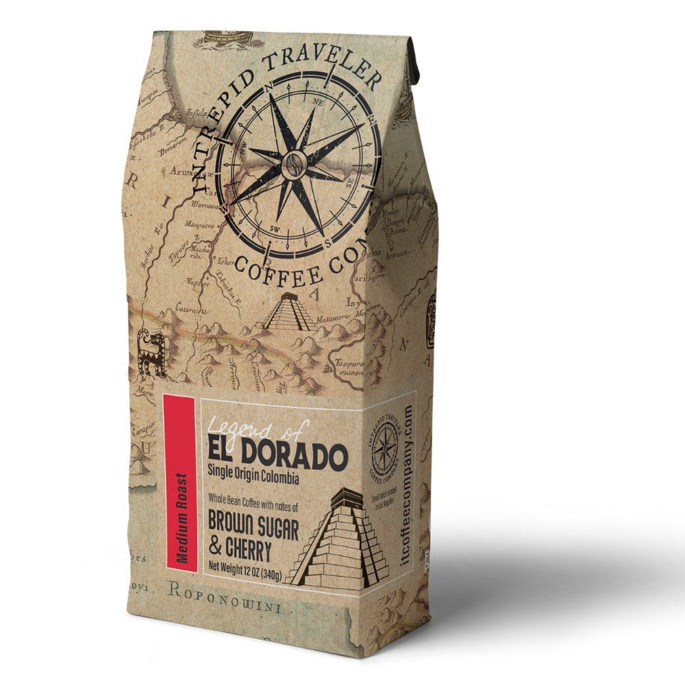 Intrepid Traveler Coffee - Whole Bean Coffee 12 oz bag. Direct trade and fresh roasted this is a medium roast single origin coffee from Buenos Aires. Front of Bag picture.