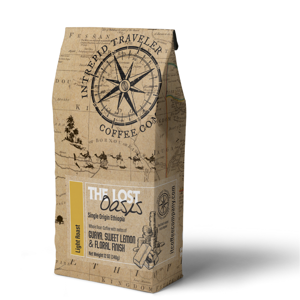Load image into Gallery viewer, IntrepidTravelerCoffeeRoaster Whole Bean Coffee 12 oz Whole Bean Lost Oasis- Light Roast