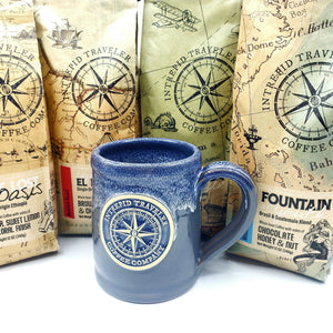 Itcoffeecompany Mug Intrepid Traveler Coffee Logo - Hand Thrown Mug - Grey