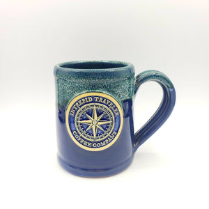Itcoffeecompany Mug Intrepid Traveler Coffee Logo - Hand Thrown Mug - Navy