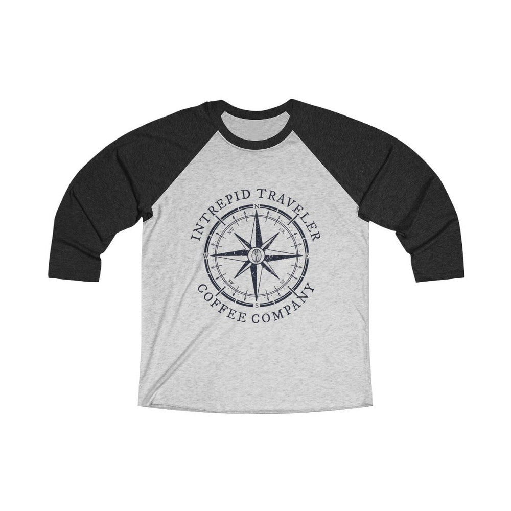 Printify Long-sleeve L / Vintage Black / Heather White Intrepid Traveler Coffee Unisex Tri-Blend 3/4 (5 Styles)