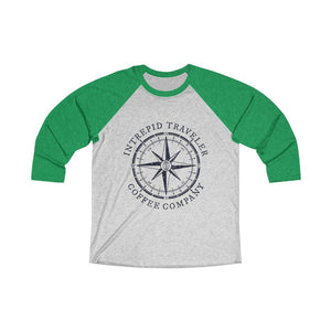 Printify Long-sleeve XS / Envy / Heather White Intrepid Traveler Coffee Unisex Tri-Blend 3/4 (5 Styles)