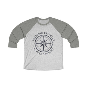 Printify Long-sleeve XS / Venetian Grey / Heather White Intrepid Traveler Coffee Unisex Tri-Blend 3/4 (5 Styles)