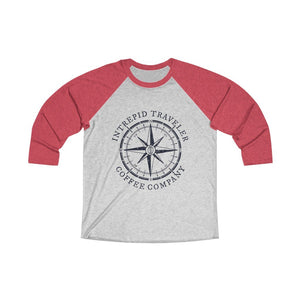 Printify Long-sleeve XS / Vintage Red / Heather White Intrepid Traveler Coffee Unisex Tri-Blend 3/4 (5 Styles)