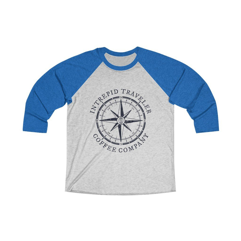 Printify Long-sleeve XS / Vintage Royal / Heather White Intrepid Traveler Coffee Unisex Tri-Blend 3/4 (5 Styles)