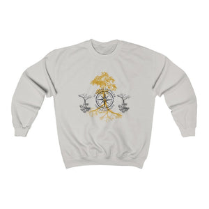 Printify Sweatshirt Ash Grey / L Intrepid Traveler Coffee - Rooted - Unisex (2 Styles)
